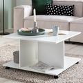Wohnling Design Couchtisch WL5.742 74 x 74 x 43,5 cm Weiß Drehbar mit Rollen, Wohnzimmertisch Coffee Table Klein, Sofatisch Loungetisch Holz, Kaffeetisch mit Stauraum  weiß