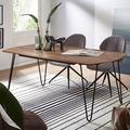 Wohnling Design Esszimmertisch WL5.628 Sheesham 120x60x76 cm Massivholz, Esstisch mit Metallbeinen, Massiver Echtholz Tisch Quadratisch, Designer Holztisch Massiv, Moderner Küchentisch Braun braun