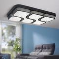 Wohnling Design LED-Deckenleuchte GEOMETRIC Deckenlampe schwarz 48W A+ 78x9x53 cm, Design Lampe 4080 Lumen warmweiß, Leuchte Metall mit 4 Lichtfeldern IP20 Schwarz