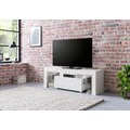 Wohnling Design Lowboard WL5.714 130x45x35 cm Weiß Hochglanz Holz HiFi Regal, TV Board mit Schublade & LED, Fernsehschrank Kommode Modern, TV Unterschrank Wohnzimmer weiß