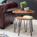 Wohnling Design Satztisch WL5.659 Sheesham Metall Beistelltisch 2er Set Klein, Couchtisch Set 2 Holz Tische, Massivholz Wohnzimmertisch Metallgestell, Schmaler Sofatisch Palisander Ablagetisch braun