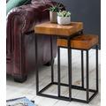 Wohnling Design Satztisch WL5.660 Sheesham Metall Beistelltisch 2er Set Klein, Couchtisch Set 2 Holz Tische, Massivholz Wohnzimmertisch Metallgestell, Schmaler Sofatisch Palisander Ablagetisch braun