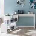 Wohnling Design Schreibtisch WL5.756 Weiß Matt 119x78x49 cm mit Ablage Regal Eckschreibtisch mit Aufbewahrung