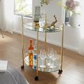 Wohnling Design Servierwagen Gold 67x79 cm Mobile Mini Bar, Beistelltisch auf Rollen, Speisewagen mit Glasplatte Weiß, Küchenwagen, Teewagen mit Milchglas gold