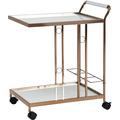 Wohnling Design Servierwagen Gold 67x80x45 cm, Mobiler Beistelltisch, Speisewagen mit Glasplatte, Küchenwagen Milchglas, Teewagen, Mini Bar auf Rollen weiß