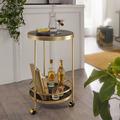 Wohnling Design Servierwagen Gold Rund Ø 45cm 2 Ebenen, Beistelltisch auf Rollen mit Glasplatte Schwarz Speisewagen, Küchenwagen, Teewagen schwarz