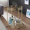 Wohnling Design Servierwagen JAMES Gold Ø 57 cm Beistelltisch, Teewagen Metall mit Rollen, Küchenwagen mit Glasplatten, Barwagen Rund 75 cm hoch, Küchentrolley Modern, Rollwagen gold