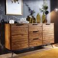 Wohnling Design Sideboard NISHAN 160 x 40 x 88 cm Sheesham Massiv Holz, Kommode mit Türen & Schubladen, Massive Anrichte Industrial, Massivholz Schrank mit Metallbeinen sheesham