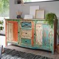 Wohnling Design Sideboard YAMAS 150x38x85 cm Highboard mit 3 Schubladen und 2 Türen, XXL Massiv-Holz Kommode Shabby-Chic Modern, Kommodenschrank Echtholz Bunt Vintage mehrfarbig
