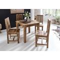 Wohnling Esstisch RUSTICA 80 x 80 x 76 cm Mango Massivholz Quadratisch | Küchentisch Rustikal | Design Holz Esszimmertisch | Tisch Esszimmer für 4 Personen Echtholz