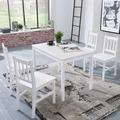 Wohnling Esszimmer-Set EMIL 5 teilig Kiefer-Holz weiß Landhaus-Stil 108 x 73 x 65 cm, Natur Essgruppe 1 Tisch 4 Stühle, Tischgruppe Esstischset 4 Personen, Esszimmergarnitur massiv Weiß