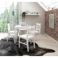Wohnling Esszimmer-Set EMIL 5 teilig Kiefer-Holz weiß Landhaus-Stil 70 x 73 x 70 cm, Natur Essgruppe 1 Tisch 4 Stühle, Esstischset Tischgruppe 4 Personen, Esszimmergarnitur massiv weiß