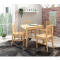Wohnling Esszimmer-Set WL5.251 5 teilig Kiefer-Holz Landhaus-Stil 70 x 73 x 70 cm, Natur Essgruppe 1 Tisch 4 Stühle, Esstischset Tischgruppe 4 Personen, Esszimmergarnitur massiv natur