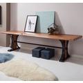 Wohnling Esszimmerbank BANUR 178x41x49 cm Sheesham Massivholz Baumkante, Sitzbank ohne Lehne
