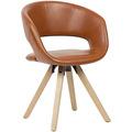 Wohnling Esszimmerstuhl Braun Kunstleder / Massivholz Retro, Küchenstuhl mit Lehne, Stuhl mit Holzfüßen, Polsterstuhl Maximalbelastbarkeit 110 kg braun