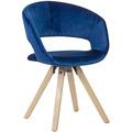Wohnling Esszimmerstuhl Dunkelblau Samt Modern, Küchenstuhl mit Lehne, Stuhl mit Holzfüßen, Polsterstuhl Maximalbelastbarkeit 110 kg blau