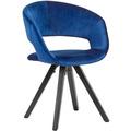 Wohnling Esszimmerstuhl Samt Dunkelblau mit schwarze Beine Modern, Küchenstuhl mit Lehne, Stuhl mit Holzfüßen, Polsterstuhl Maximalbelastbarkeit 110 kg