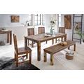 Wohnling Esszimmertisch KALKUTTA 180 x 90 x 76 cm Mango Shabby Chic Massiv-Holz Design Landhaus Esstisch Bootsholz Tisch für Esszimmer rechteckig 6 - 8 Personen