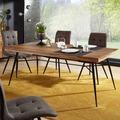 Wohnling Esszimmertisch NISHAN 180x77x90 cm Sheesham Massiv Holz, Esszimmertisch Massivholz mit Design Metall Beinen, Holztisch Tisch Esszimmer, Küchentisch Holzplatte mit Metallgestell sheesham