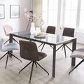 Wohnling Esszimmertisch NOBLE 122 - 182 cm ausziehbar dunkelgrau Metall / Glas, Tisch für Esszimmer rechteckig, Küchentisch 4 - 8 Personen, Design Esstisch