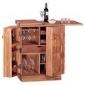 Wohnling Hausbar Massivholz Akazie Weinbar ausklappbar Vitrine Landhausstil Barschrank Aufbewahrung Flaschen Gläser