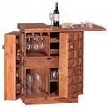 Wohnling Hausbar Massivholz Sheesham Weinbar ausklappbar Vitrine Landhausstil Barschrank Aufbewahrung Flaschen Gläser
