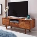 Wohnling HiFi Lowboard AMANA Sheesham Massivholz Landhaus TV Kommode 135x51x45cm, Fernsehschrank Unterschrank mit Schublade & 2 Türen, Fernsehtisch Ablagefach, Fernsehkommode TV Möbel sheesham