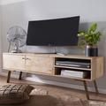 Wohnling HiFi Lowboard SIKAR Mango Massivholz Landhaus TV Kommode 145x47x35cm, Fernsehschrank mit 2 Türen
