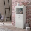 Wohnling Highboard WL5.847 Weiß Hochglanz 53x125,5x30 cm Sideboard Modern, Kleiner Holzschrank mit Glas