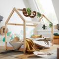 Wohnling Kinderbett Haus 140x70 cm aus Kiefer Natur Holz mit Lattenrost Bett, Schlafbett für Kinder, Hausbett Spielbett, Abenteuerbett natur