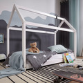 Wohnling Kinderbett Haus 140x70 cm aus Kiefer Weiß Holz mit Lattenrost Bett, Schlafbett für Kinder, Hausbett Spielbett, Abenteuerbett weiß