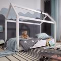 Wohnling Kinderbett Haus 160x80 cm aus Kiefer Weiß Holz mit Lattenrost Bett, Schlafbett für Kinder, Hausbett Spielbett, Abenteuerbett weiß