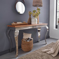 Wohnling Konsolentisch Sheesham Massivholz / Metall 130x76,5x42 cm Flurtisch, Design Wohnzimmertisch Schmal, Anrichte Schreibtisch Modern