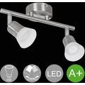 Wohnling LED-Spot 2-flammig CLARA Deckenstrahler Dimmbar Lampe A+ Warmweiß 8 Watt, Wohnzimmerlampe Strahler drehbar 3000K, Deckenleuchte modern Silber 2x360 Lumen IP20, Design Deckenlampe schwenkbar silber