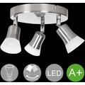 Wohnling LED-Spot 3-flammig CLARA Deckenstrahler Dimmbar Lampe A+ Warmweiß 12 Watt, Wohnzimmerlampe Strahler drehbar 3000K, Deckenleuchte Silber modern 3x360 Lumen IP20, Design Deckenlampe schwenkbar silber