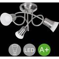 Wohnling LED-Spot 3-flammig CLARA Deckenstrahler Lampe Dimmbar A+ Warmweiß 12 Watt, Wohnzimmerlampe Strahler drehbar 3000K, Deckenleuchte Silber modern 3x360 Lumen IP20, Design Deckenlampe schwenkbar silber