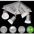 Wohnling LED-Spot 4-flammig CLARA Deckenstrahler Lampe Dimmbar A+ Warmweiß 16 Watt, Wohnzimmerlampe Strahler drehbar 3000K, Deckenleuchte Silber modern 4x360 Lumen IP20, Design Deckenlampe schwenkbar silber