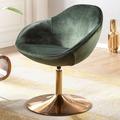 Wohnling Loungesessel SARIN 70x79x70 cm Samt Grün/Gold Design Drehstuhl, mit Armlehne