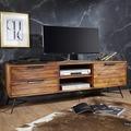 Wohnling Lowboard NISHAN 160x54x40 cm Sheesham Massiv Holz, Design Hifi-Board mit Stauraum und Schubladen, Massivholz Fernsehschrank Wohnzimmer, Industrial Fernsehkommode mit Metallbeinen braun