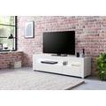 Wohnling Lowboard WL5.716 155x40x46 cm Weiß Hochglanz Holz HiFi Regal Weiß, Design Fernsehschrank Kommode Modern, TV Unterschrank Wohnzimmer, TV Board mit Schublade & LED weiß