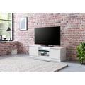 Wohnling Lowboard WL5.717 120x39x40 cm Weiß Hochglanz Holz HiFi Regal, Design Fernsehschrank Kommode Modern, TV Unterschrank Wohnzimmer, TV Board mit Schublade & LED weiß