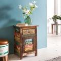 Wohnling Nachtkonsole SURAT 35x40x60 cm Nachttisch Mango Massivholz Beistelltisch, Design Nachtkommode Shabby Chic, Nachttisch mit Schublade, Beistellschrank mit Stauraum, Nachttischchen Vintage mehrfarbig
