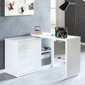 Wohnling Schreibtisch NAOMI 166x42x77 cm Groß Weiß Hochglanz Computertisch, Bürotisch 115 cm Breit, PC-Tisch mit Metallbeinen, Home Office Konsole Modern weiß