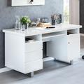 Wohnling Schreibtisch SALLY 140x76x60 cm Groß Weiß Hochglanz Computertisch, Bürotisch 140 cm Breit, PC-Tisch mit Metallbeinen, Home Office Konsole Modern Eckig weiß