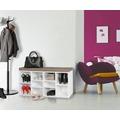 Wohnling Schuhbank mit Sitzauflage LAURA weiß Flurbank 103,5 x 53 x 30 cm, Sitzbank mit Regalfächer, Garderobenbank mit Stauraum