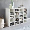 Wohnling Schuhregal DIEGO Holz Weiß 91 x 67 x 33 cm Ablage Hoch, Design Schuhständer Groß 20 Paar Schuhe, Schuh Aufbewahrung Platzsparend, Schuhablage Dielenmöbel Modern XXL Weiß