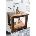 Wohnling Shabby-Chic Beistelltisch KALKUTTA mit 2 Ablageflächen dunkelbraun Design Couchtisch Holz 56 x 60 x 56 cm Kleiner Tisch Wohnzimmer Bootsholz