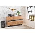 Wohnling Sideboard SATARA 148 x 85 x 43 cm Massiv-Holz Akazie Natur Baumkante Anrichte, Landhaus-Stil Highboard mit 3 Türen, Flur Schrank Kommode