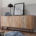 Wohnling Sideboard WL5.604 Mango Massivholz 160x77x45 cm Landhaus Kommode, Design Anrichte Groß mit 3 Türen, Hoher Kommodenschrank Holz Massiv, Standschrank Wohnzimmer Modern braun