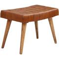 Wohnling Sitzhocker 67x47x39 cm Mango Massivholz / Echtleder Chesterfield-Design, Lederhocker Braun, Beistellhocker Hocker ohne Lehne, Country Fußhocker braun